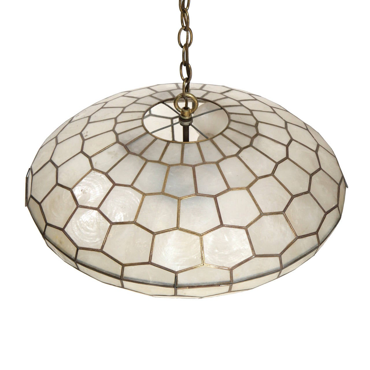 Capiz shell chandelier at 1stdibs for Shell ceiling light fixtures