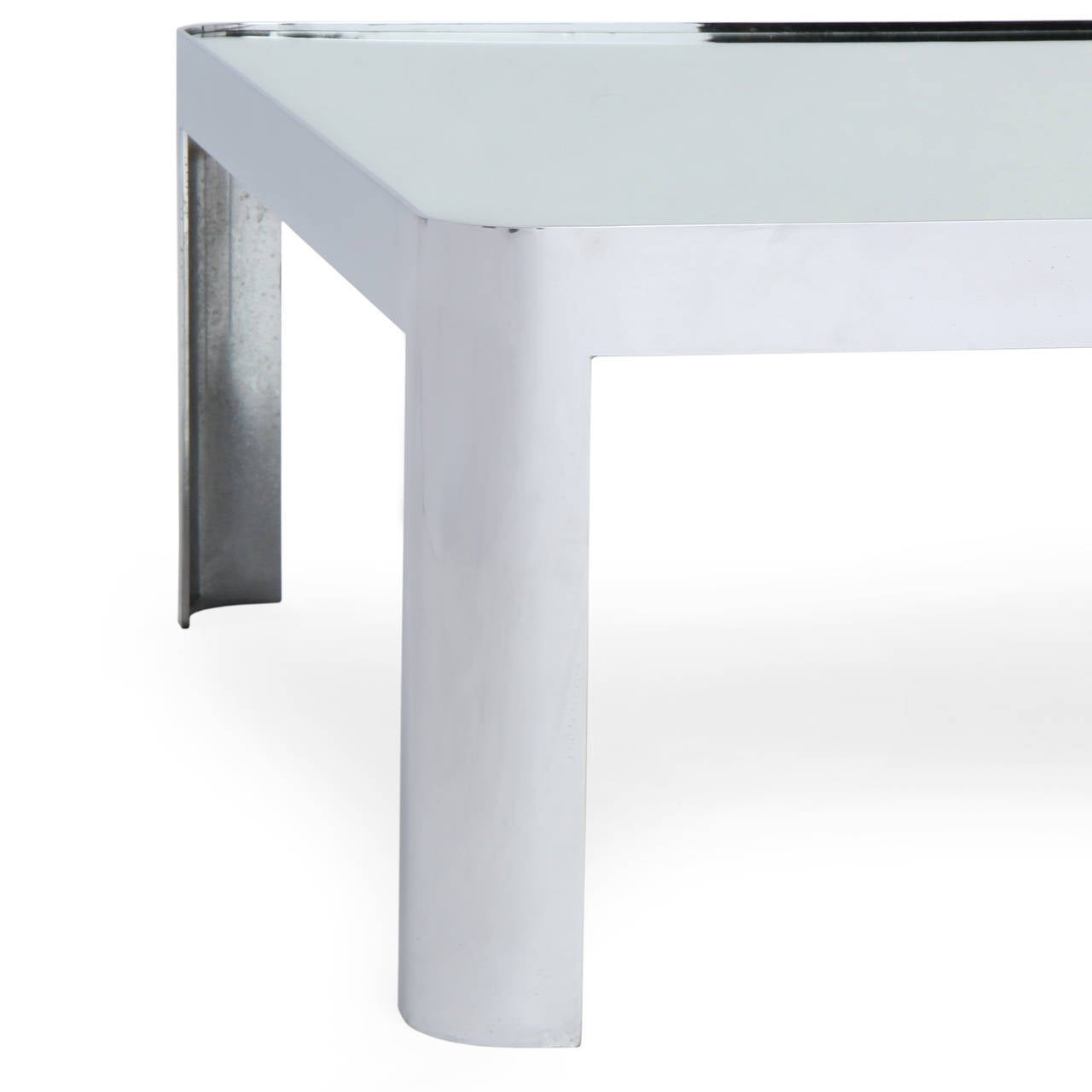 Polished Steel Low Table In Good Condition For Sale In New York, NY