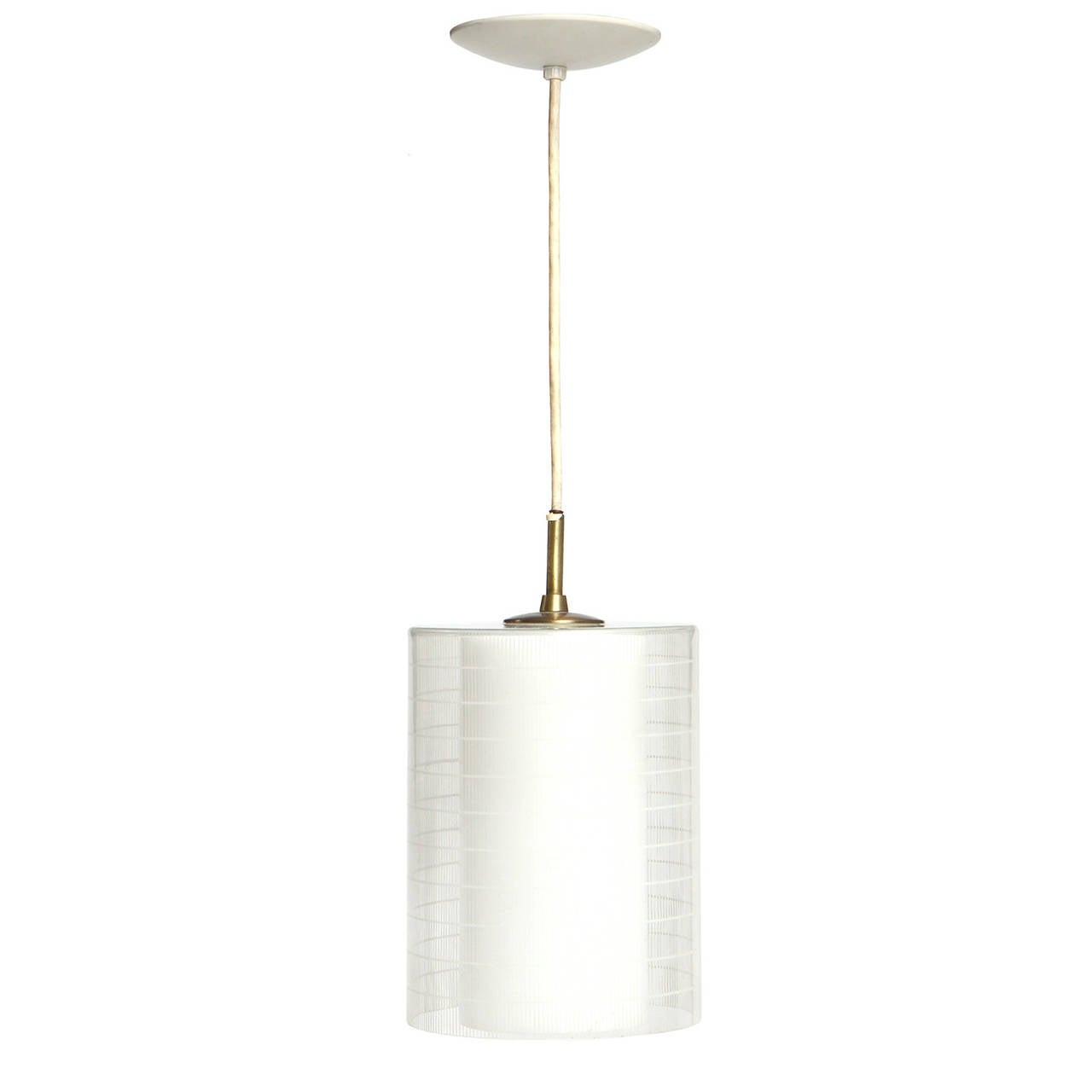 Cylindrical Glass Pendant Lamp, circa 1950s