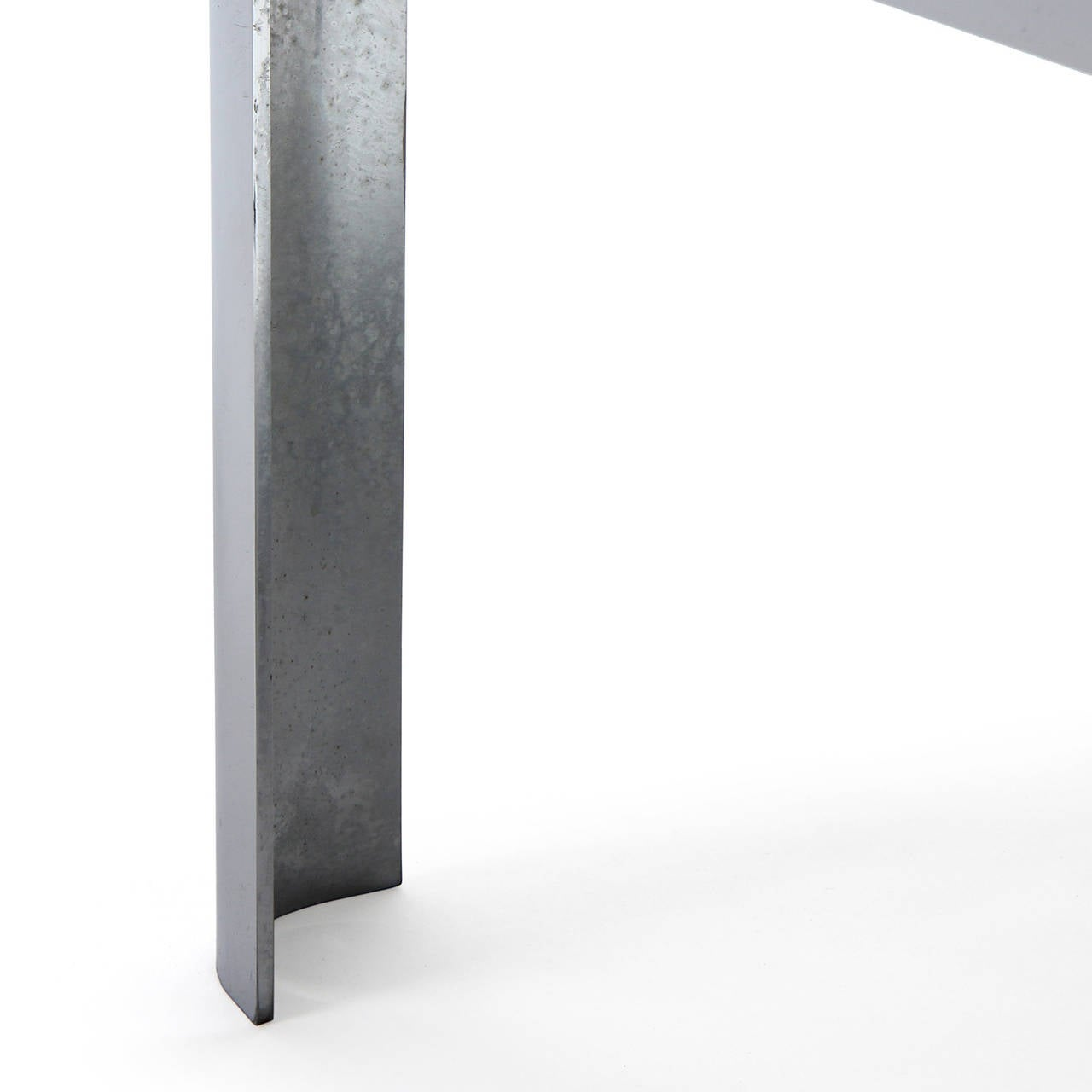 American Polished Steel Low Table For Sale