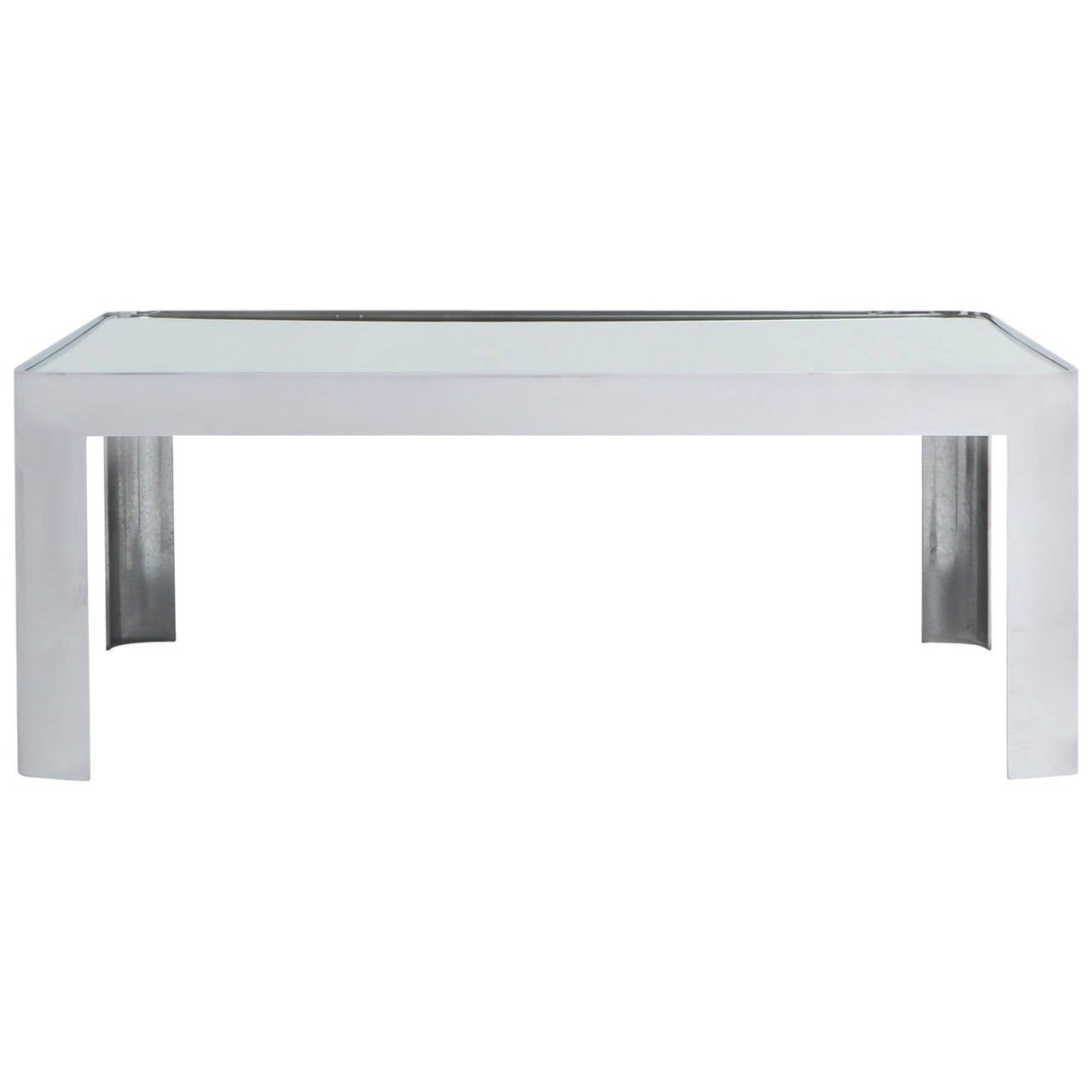 Polished Steel Low Table For Sale