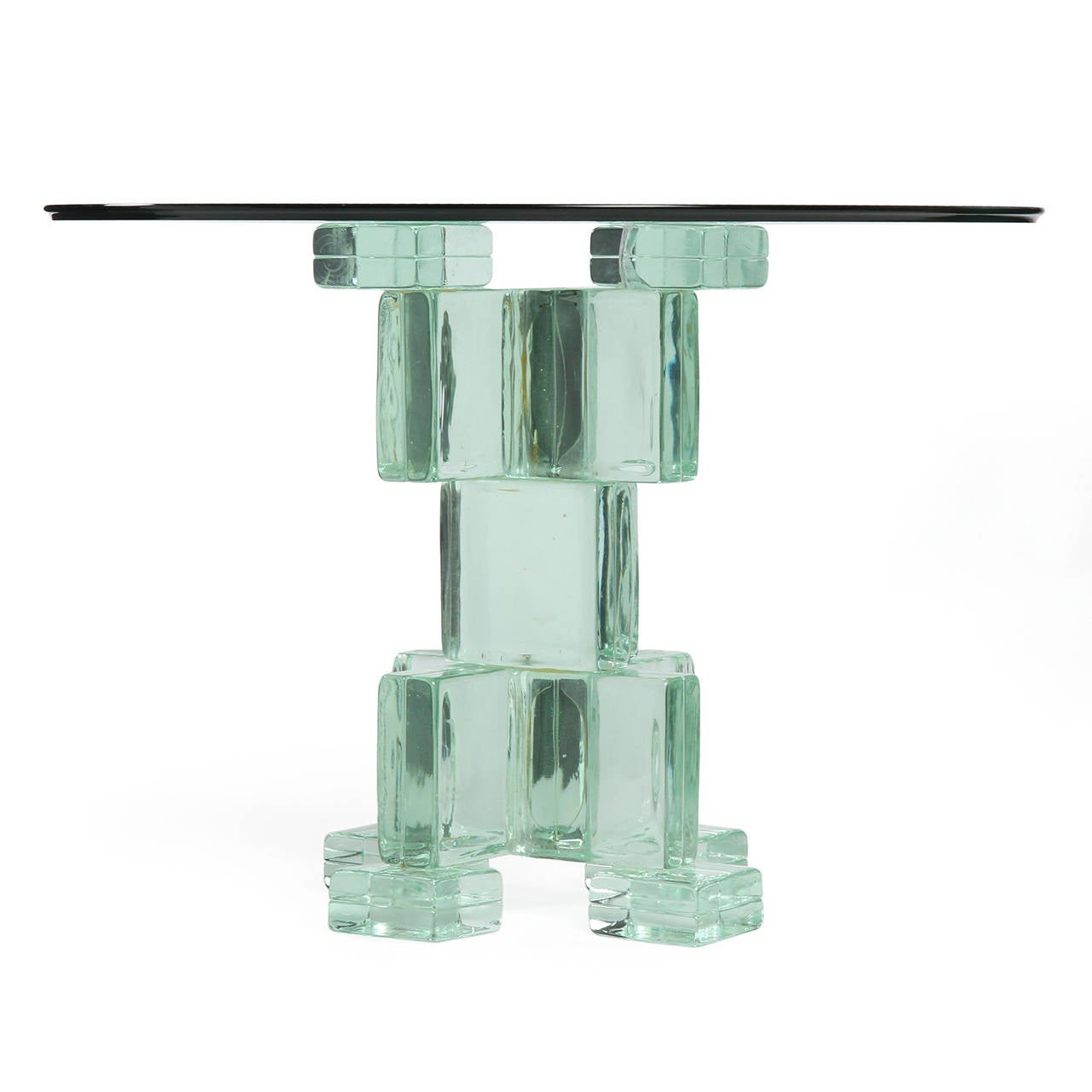 Glass Block Pedestal Table For Sale At 1stdibs