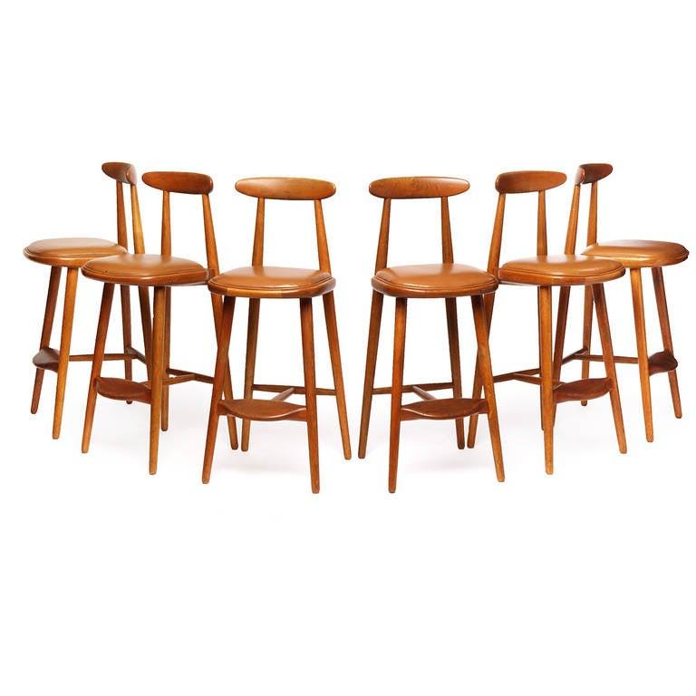 Oak Bar Stools By Vilhelm Wohlert For Sale At 1stdibs