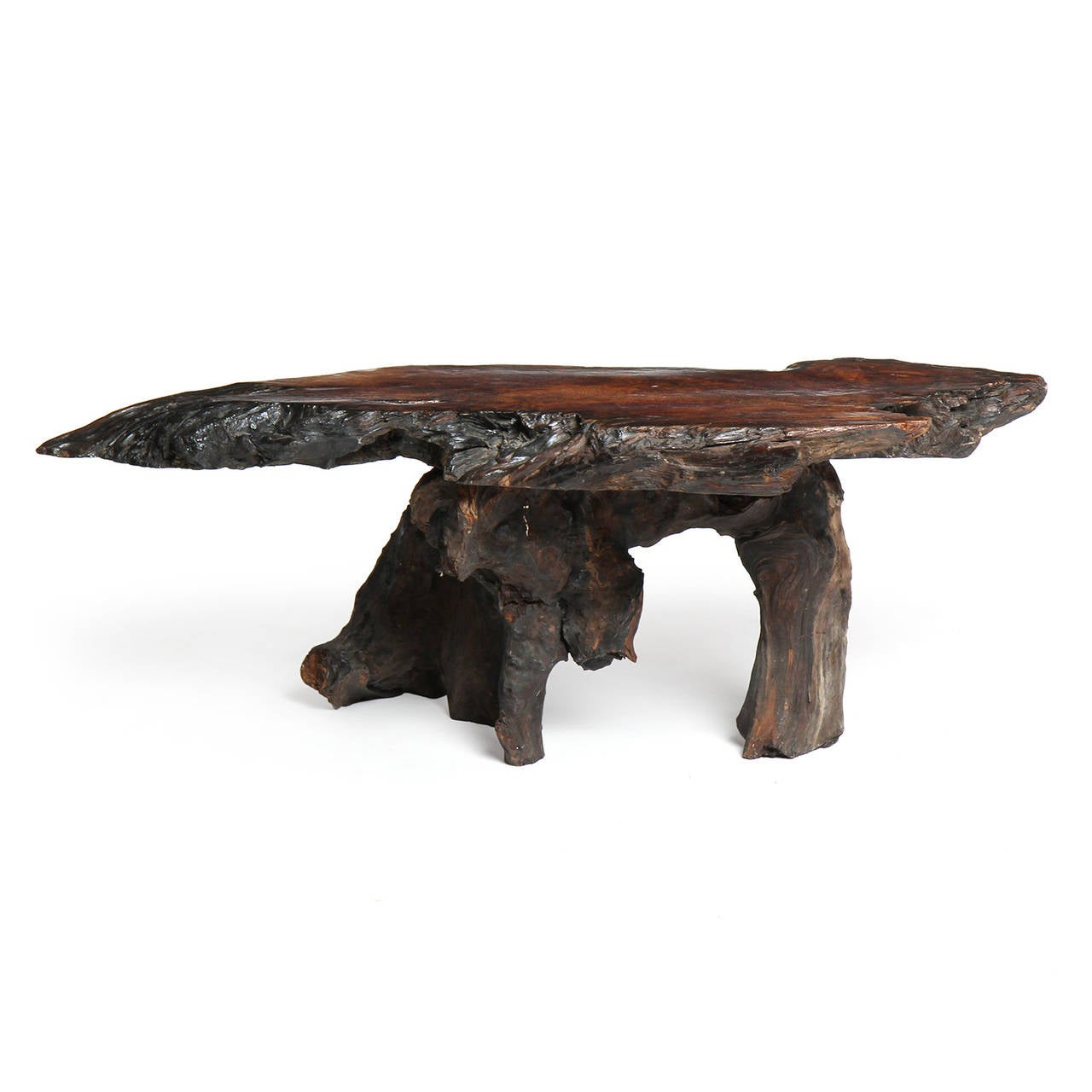 Organic Burl Redwood Low Table For Sale At 1stdibs