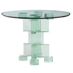 Glass Block Pedestal Table