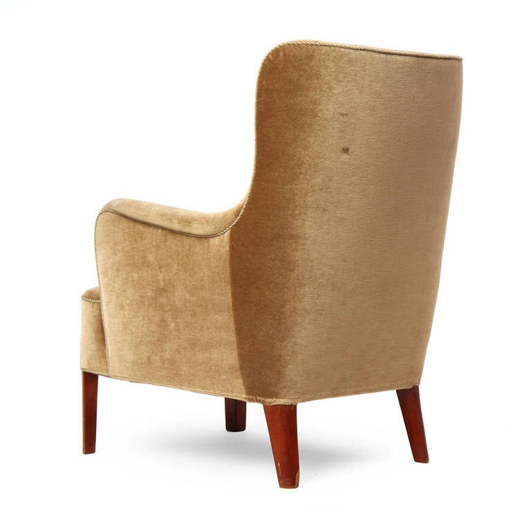 Sculptural Armchair In Gold Toned Velvet 1960s At 1stdibs