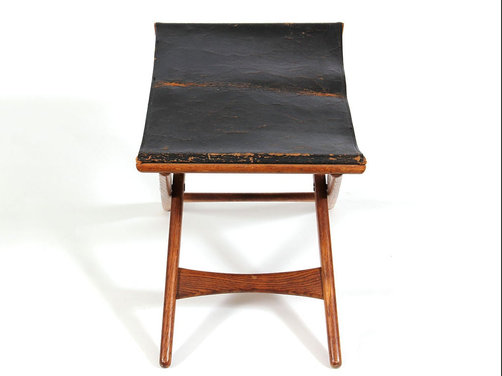 1940s Swedish Fumed Oak Folding Stool by Osten Kristiansson for Luxus In Fair Condition For Sale In Sagaponack, NY