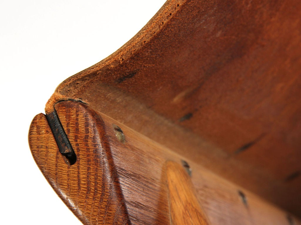 Leather 1940s Swedish Fumed Oak Folding Stool by Osten Kristiansson for Luxus For Sale