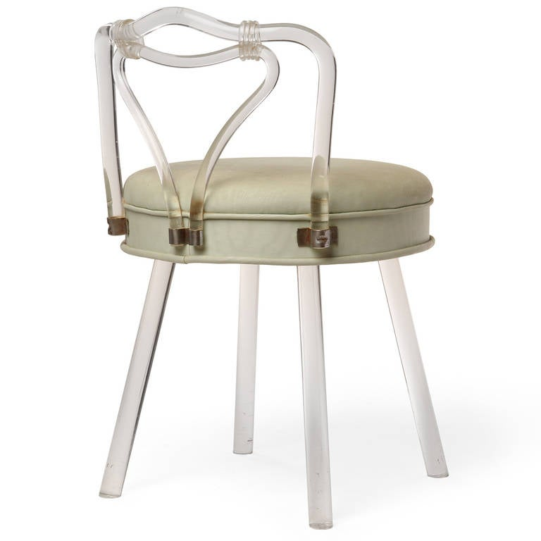 Lucite vanity stool for sale at 1stdibs - Acrylic vanity chair ...
