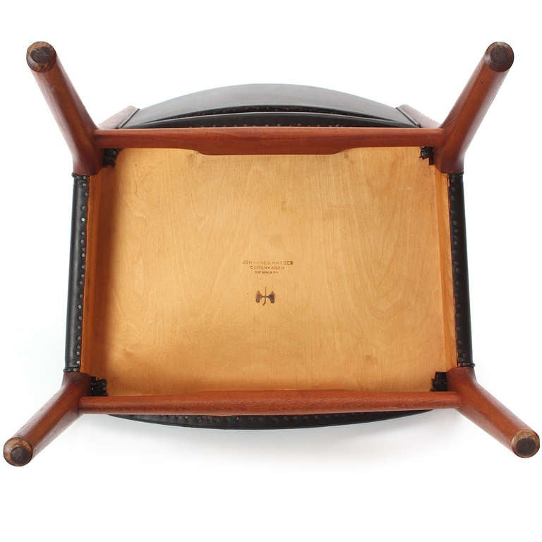 Leather Side Chair by Hans J. Wegner For Sale