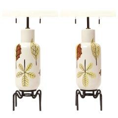 Pair of Foliate Table Lamps