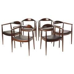 Mahogany Round Chairs by Hans J. Wegner