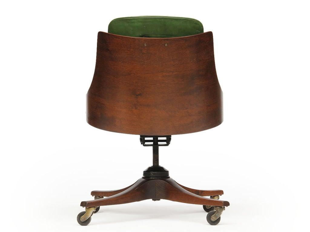 Walnut barrel back desk chair by Edward Wormley for Dunbar