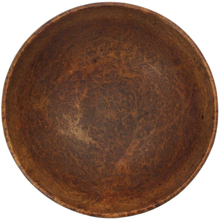 Late 18th Century Early American Turned Burl Bowl For Sale