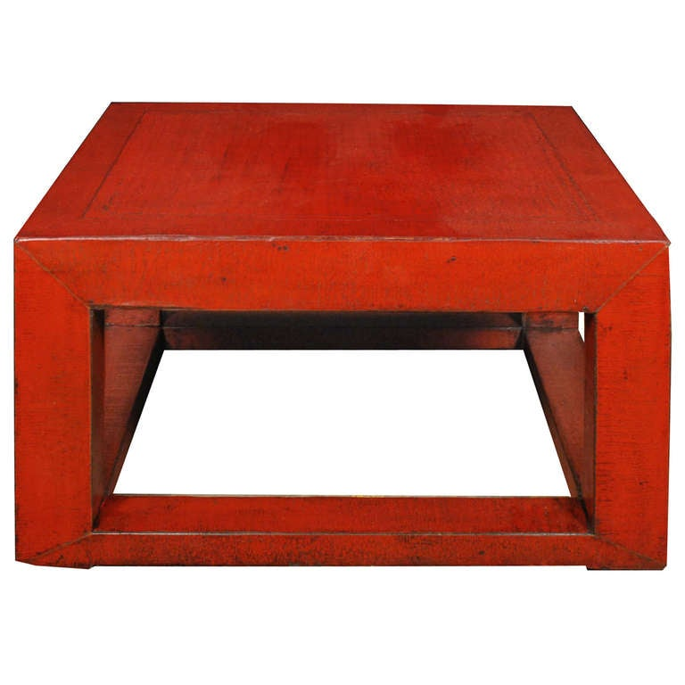 Chinese Red Lacquer Square Platform Table 1