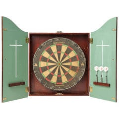 Dart Board Set Housed in a Well-Constructed Wall-Mounted Walnut Case