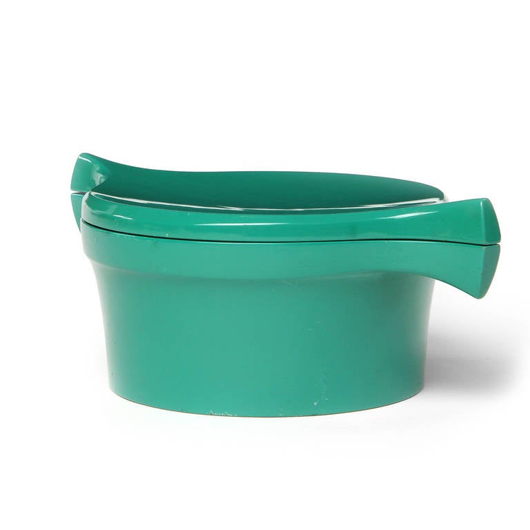 Danish Ice Bucket Covered in a Vibrant Green Lacquer by Jens Quistgaard For Sale