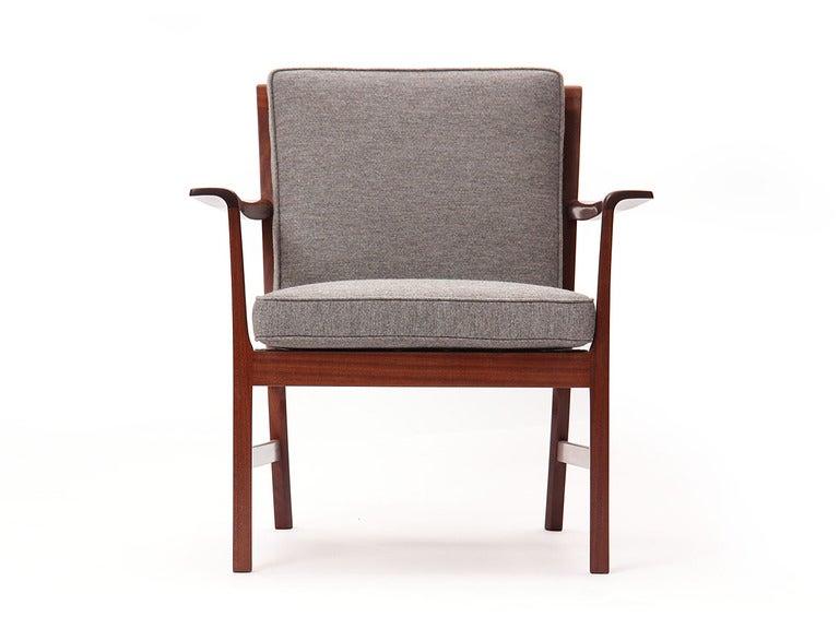 Scandinavian Modern Cuban Mahogany Lounge Chair by Ole Wanscher For Sale