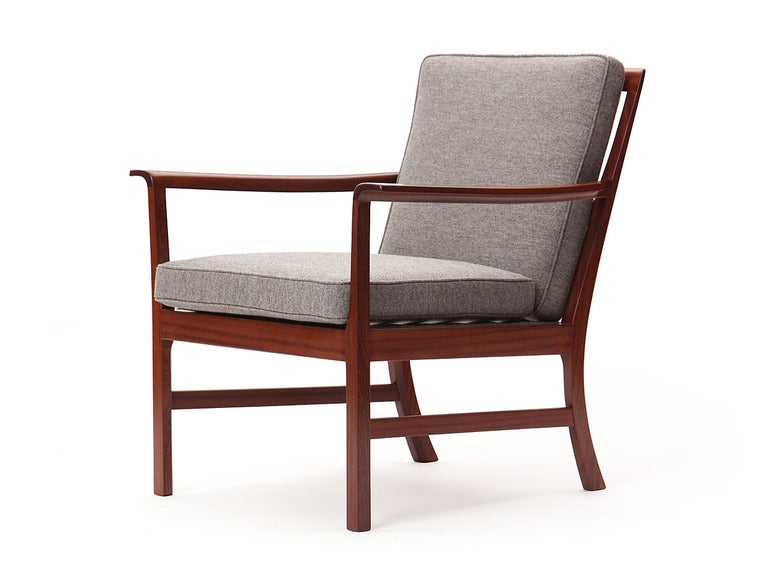 Danish Cuban Mahogany Lounge Chair by Ole Wanscher For Sale