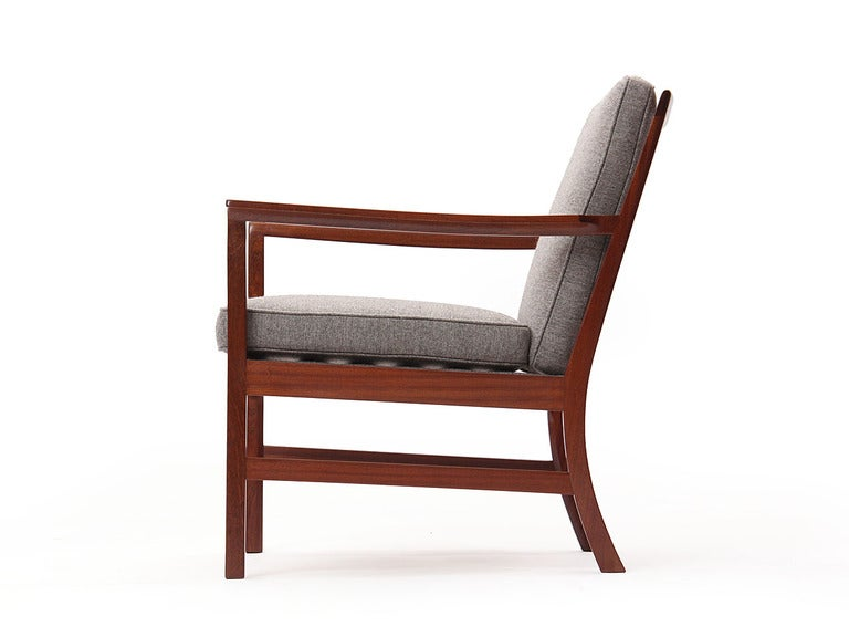 Cuban Mahogany Lounge Chair by Ole Wanscher In Excellent Condition For Sale In Sagaponack, NY