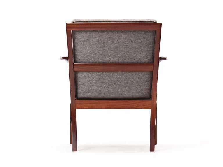 Upholstery Cuban Mahogany Lounge Chair by Ole Wanscher For Sale