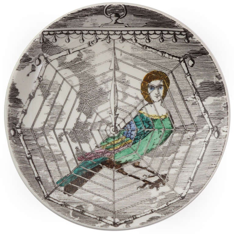 Mid-Century Modern Surrealist Plates by Piero Fornasetti For Sale