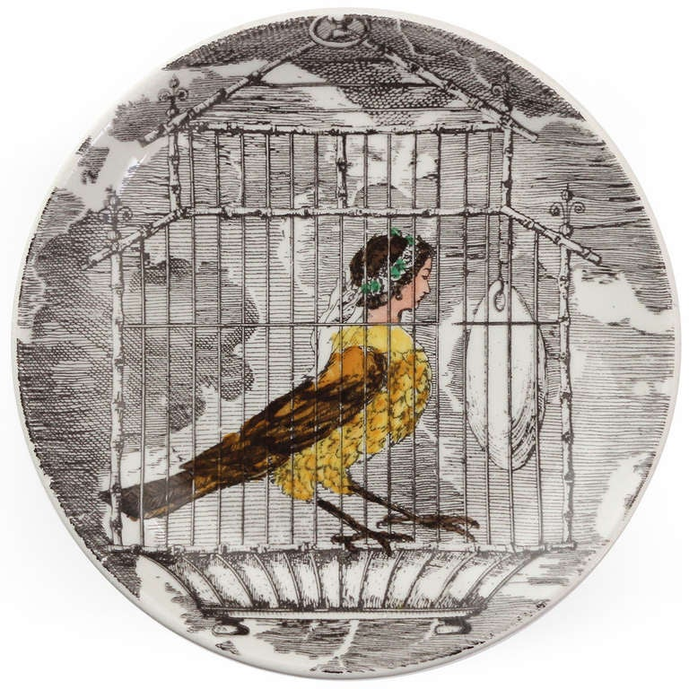 Ceramic Surrealist Plates by Piero Fornasetti For Sale