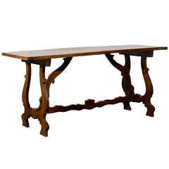 Spanish Baroque Style Walnut Table with Stretcher from the Late 19th Century