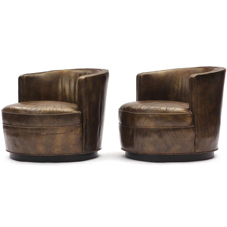 Superb leather barrel back chairs by edward wormley at 1stdibs - Edward wormley chairs ...