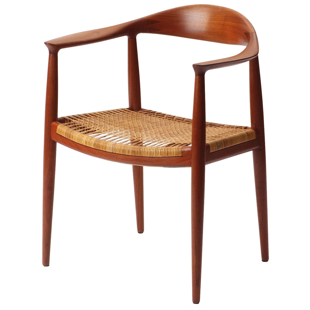 'The Chair' a Teak Round Chair with a Caned Seat by Hans J. Wegner