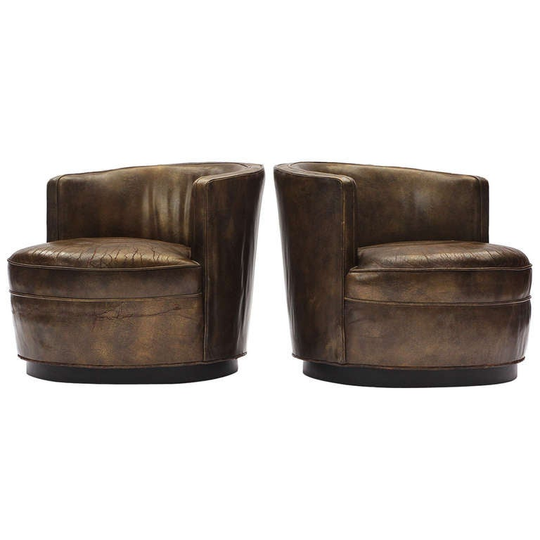 Superb Leather Barrel Back Chairs By Edward Wormley At 1stdibs