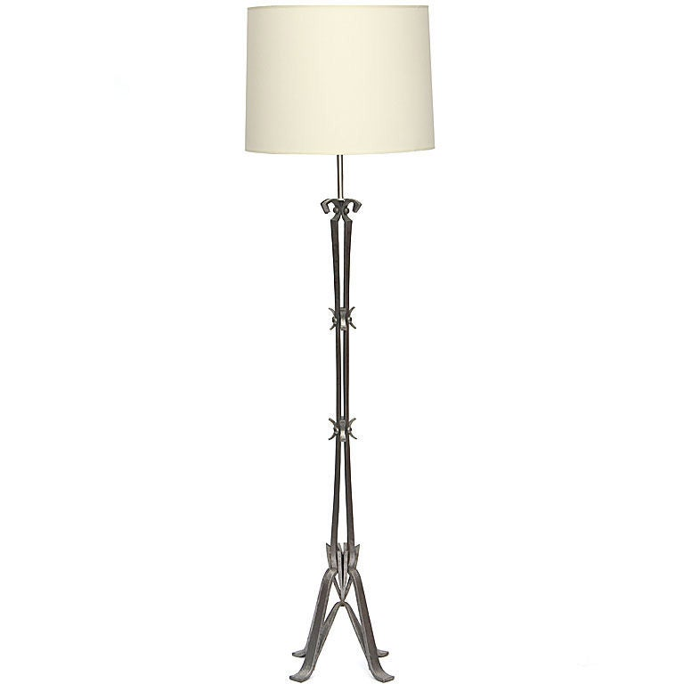 solid wrought iron floor lamp at 1stdibs. Black Bedroom Furniture Sets. Home Design Ideas