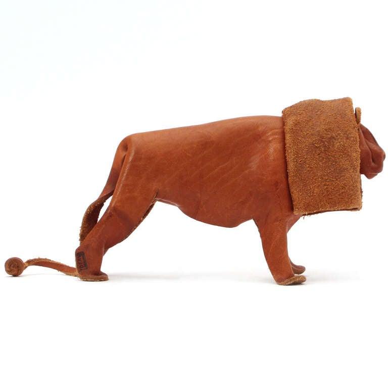 Mid-20th Century Leather Lion By Deru