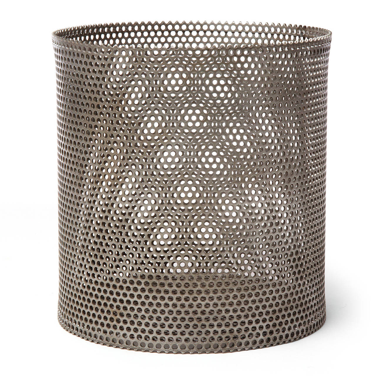 A beautifully crafted, generously scaled and masterfully Minimalist waste receptacle having a spare cylindrical form and made of heavy-gauge perforated rolled steel.