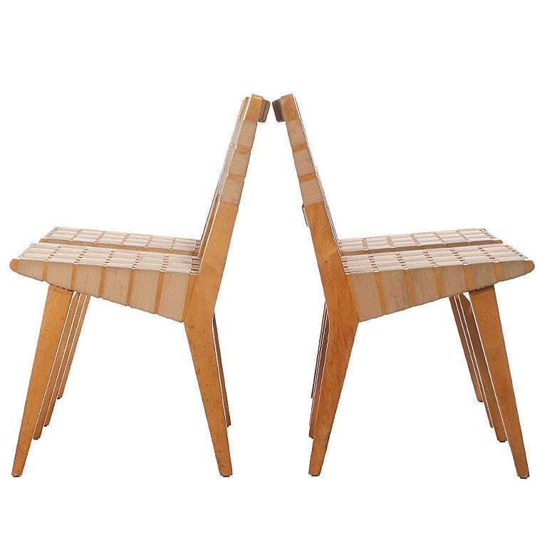 Webbed Birch Side Chair Set by Jens Risom