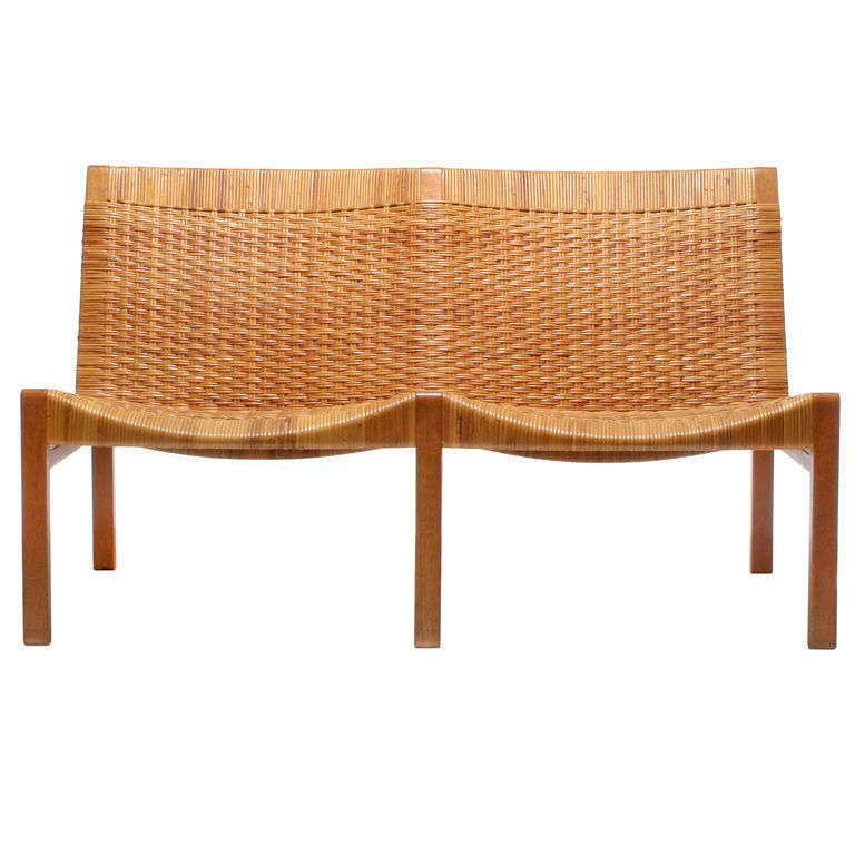 Oak And Cane Bench By Larsen And Madsen At 1stdibs