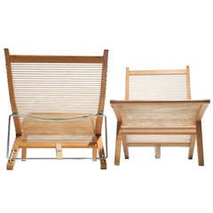 Oak and Flagline Chaise by Hans Wegner
