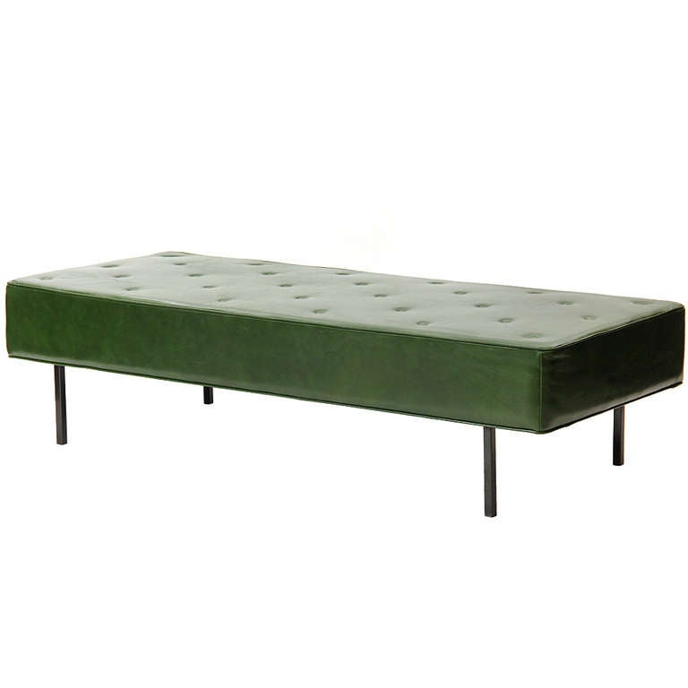 Green leather bench by florence knoll at 1stdibs for Leather daybed bench