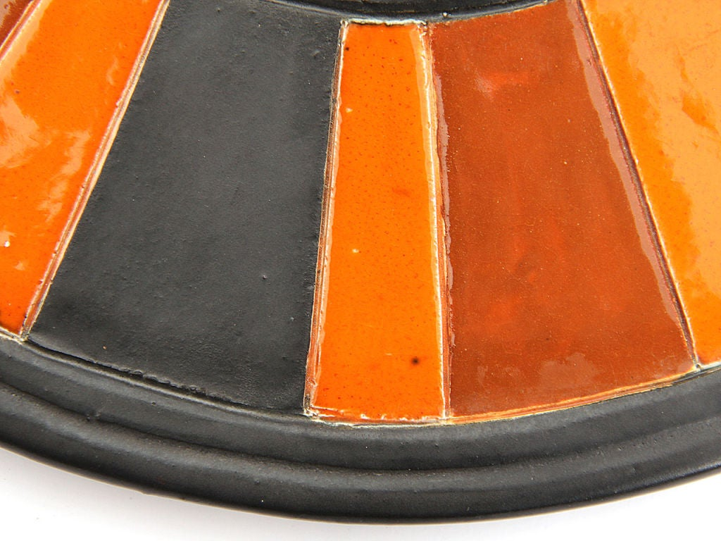 Italian Ceramic Framed Mirror For Sale