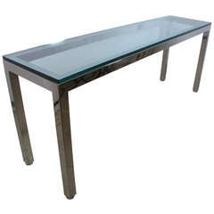 Long Polished Steel and Glass Console Tale by Pace