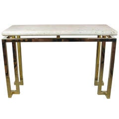 Luten Clarey Stern Inc. Fossil Stone and Brass Console Table USA 1980's