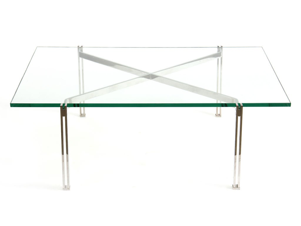 Stainless Steel X Base Low Table At 1stdibs