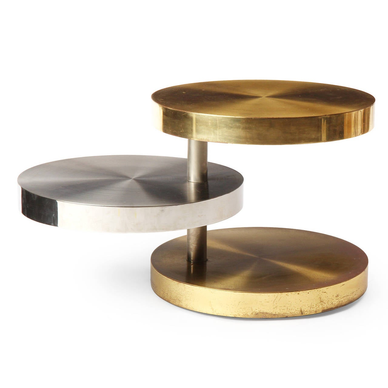 Three tiered revolving table at 1stdibs for Revolving end table