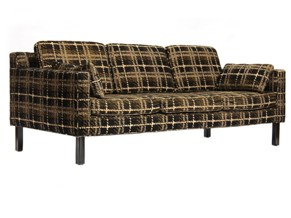 plaid sofa by edward wormley for dunbar at 1stdibs. Black Bedroom Furniture Sets. Home Design Ideas