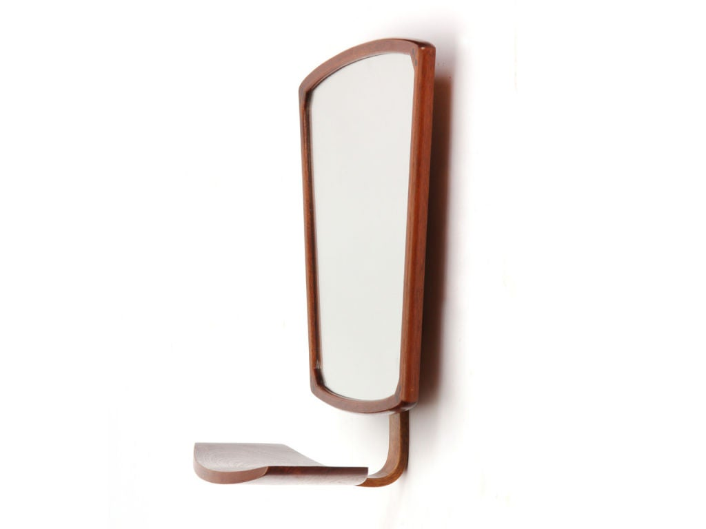 Wall mount mirror with shelf at 1stdibs for Mirror with shelf