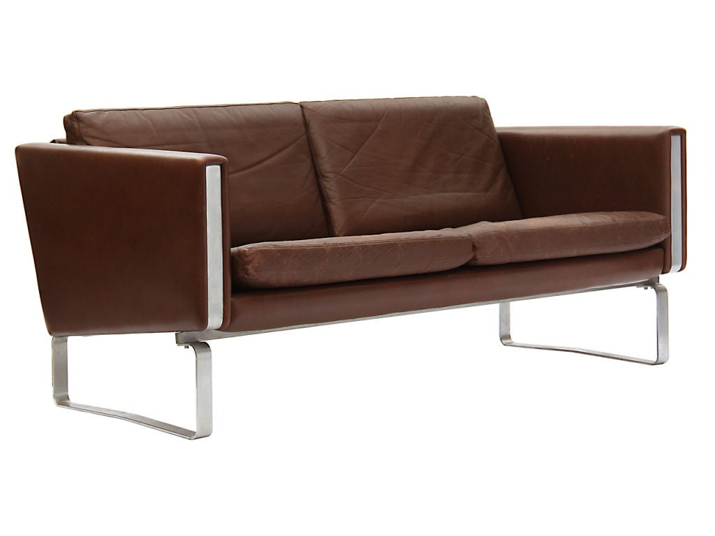 leather sofa by hans wegner for sale at 1stdibs. Black Bedroom Furniture Sets. Home Design Ideas