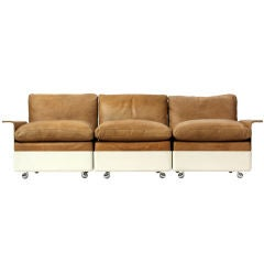 Fiberglass and Leather Three-Seat Sofa