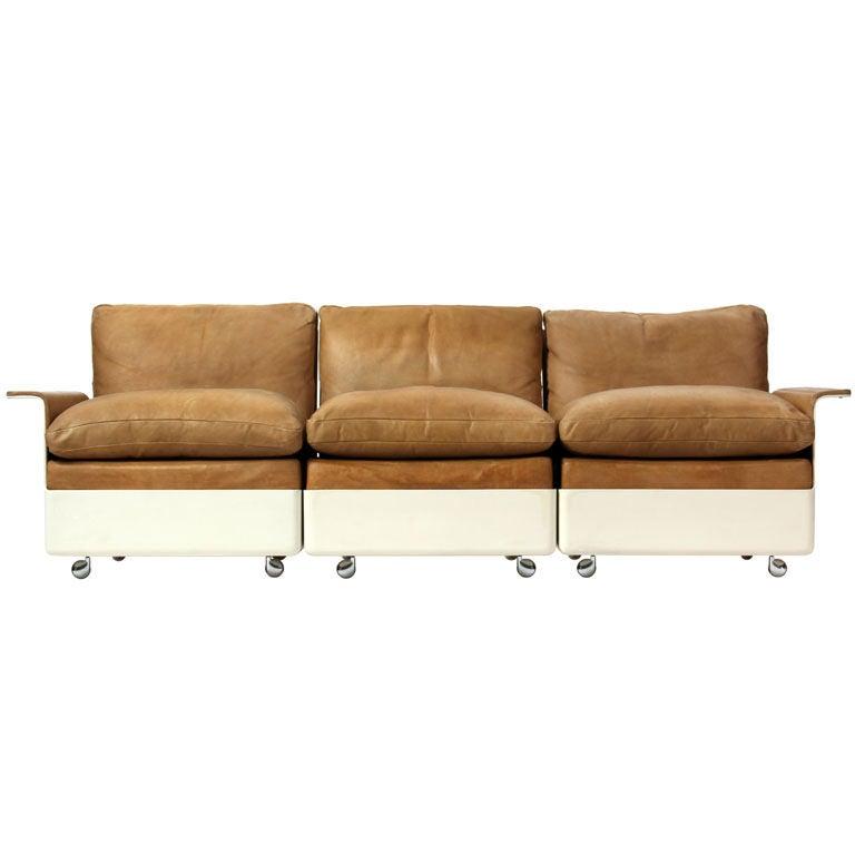 Fiberglass and Leather Three-Seat Sofa