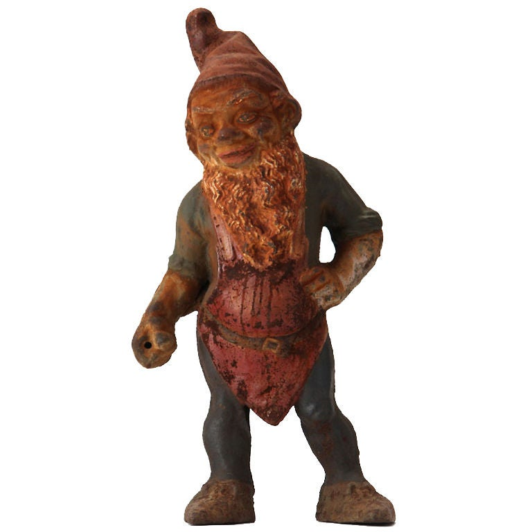 Garden Gnomes On Sale: A Cast Iron Garden Gnome For Sale At 1stdibs