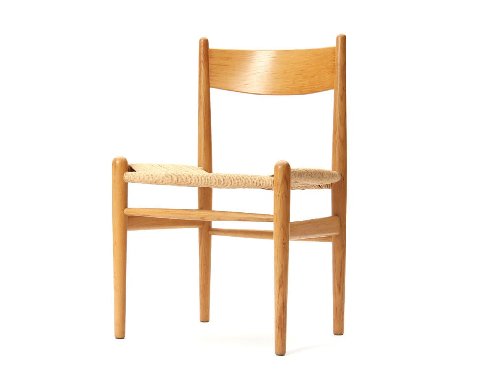 Scandinavian Modern Oak and Papercord Chairs by Hans Wegner For Sale